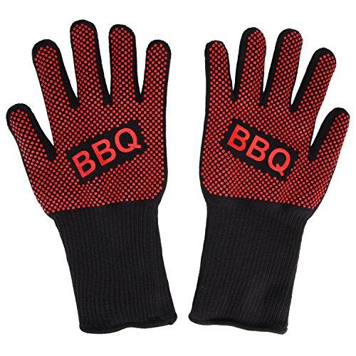 Danibos Qualität Hitzebeständig Ofenhandschuhe topfhandschuhe Grillhandschuhe Silikon Backhandschuhe zum Grillen, Kochen, Grillen-Eine Größe passt fast allen 1 Paar (Rote)