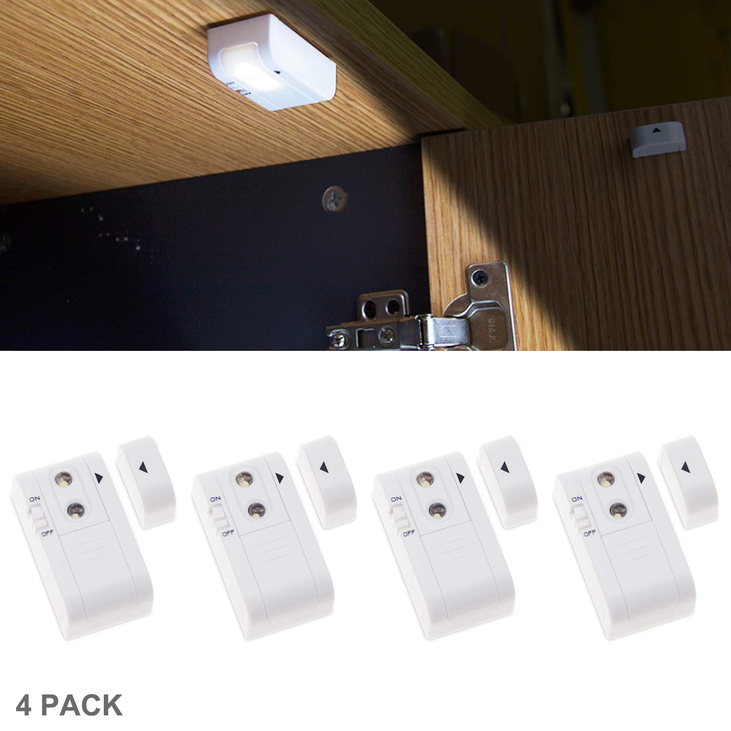 HONWELL Mini Closet Lights Puck Lights Bright Wireless Battery LED Lights, Stick on Light, Under Cabinet Kitchen Counter Drawer Wardrobe Bedside Table Office Lighting-4 Pack
