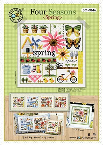 SODA Cross Stitch Pattern leaflet SO-G37 Petite Four Seasons authentic Korean cross stitch design chart color printed on coated paper