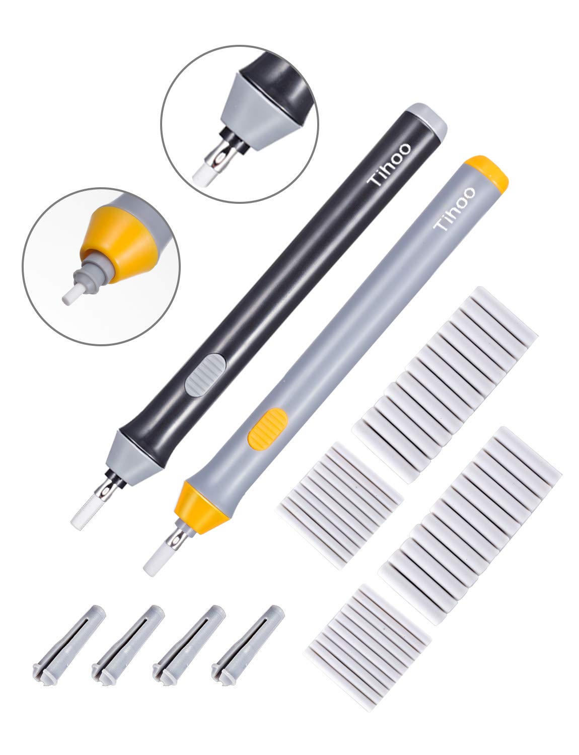 2Set Electric Erasers kit With 44 Eraser Refills Art Erasers for Highlight Auto Eraser For Pencil Drawing Powered by 2 AAA Batteries (not included) Black & Gray