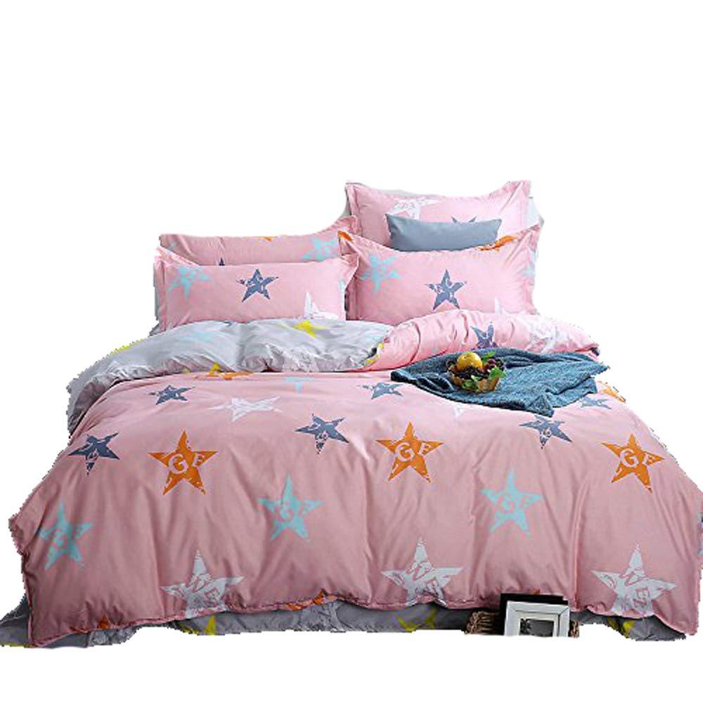 4pcs Kids Beddingset Duvet Cover Flat Sheet Pillowcase MX Twin Full Queen Children Duvet Cover Set Sky Star Design (Full, City Star, Blue) Nova