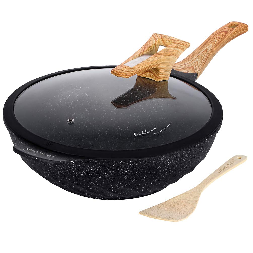 Chinese Wok Nonstick Die-casting Aluminum Dishwasher Safe Scratch Resistant PFOA Free Induction Woks And Stir Fry Pans with Glass Lid 12.6Inch,5.9L,5.6lb - Black by COOKLOVER