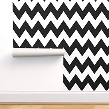 Spoonflower Peel And Stick Removable Wallpaper Black Chevron Zigzag Nursery Modern Zigzags And Print Self Adhesive Wallpaper 12in X 24in Test Swatch Amazon Com