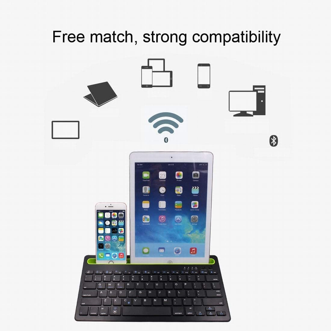 XIAMEND Wireless Keyboard Tablet Bluetooth Keyboard Long Battery Life