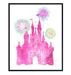 Walt Disney World Cinderella Castle with Tinker Bell Wall Art Poster Print - Perfect Girls Room Decor for Kids and Women - Great Gift - 8x10 Unframed Photo