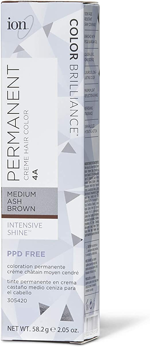 Ion Permanent Creme Hair Color 4A Medium Ash Brown by Ion