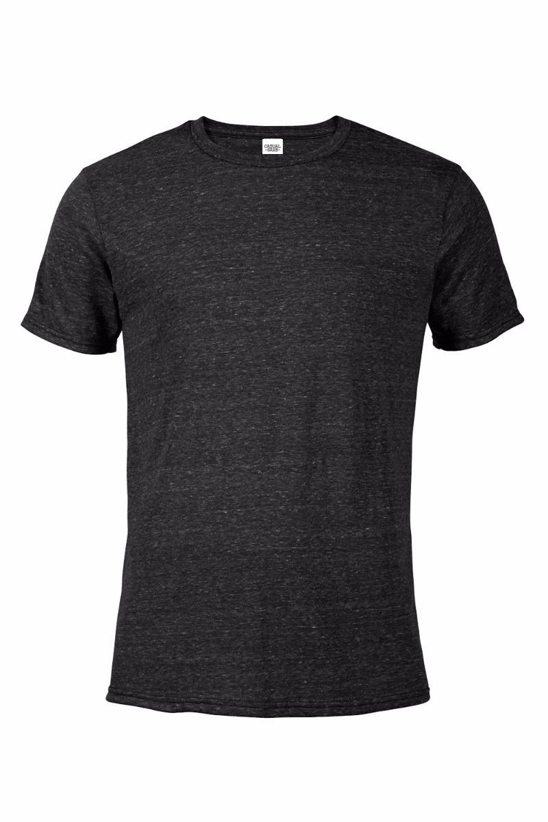 Casual Garb Men's Snow Heather Fitted T Shirt Short Sleeve Crew Neck T-Shirts for Men Black Large
