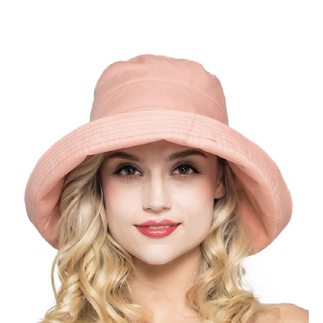 Lmoway Women Foldable Wide Brim Fold Up Cotton Outdoor Sun Fishing Hat UPF50+ with Bow Coral