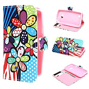 Leathlux Colorful Flower Design Magnetic Wallet PU Leather Stand Case Cover For LG L50 D213N