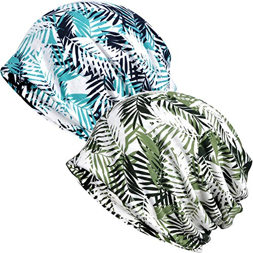 (Ababalaya Women's Kinds of Lace/Floral/Print/Cotton Chemo Cap Hair Loss Beanie Nightcap Pack,Tropical Leaves-2 Pieces)