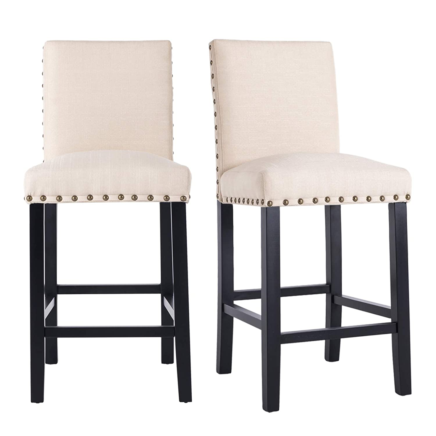 Enjoyable Gotminsi Nailhead 24 Counter Height Stools Upholstered Bar Stools With Solid Wood Legs Set Of 2 Beige Gmtry Best Dining Table And Chair Ideas Images Gmtryco