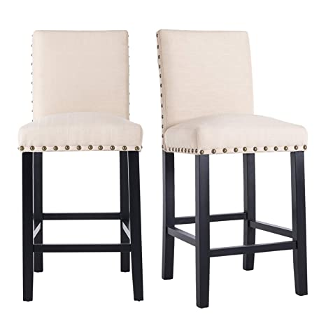 Wondrous Gotminsi Nailhead 24 Counter Height Stools Upholstered Bar Stools With Solid Wood Legs Set Of 2 Beige Alphanode Cool Chair Designs And Ideas Alphanodeonline