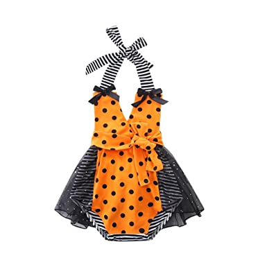 e14ff75ec67 SCFEL Newborn Baby Girl Infant Halter Stripe Dot Mesh Skirt Romper Toddler  Tutu Skirt Bodysuit (18-24 Months)  Amazon.co.uk  Clothing