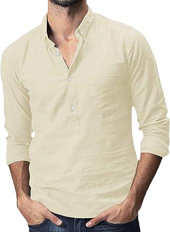 Makkrom Mens Long Sleeve Shirt Button Up Cotton Linen Loose Casual Beach Yoga Shirts Tops