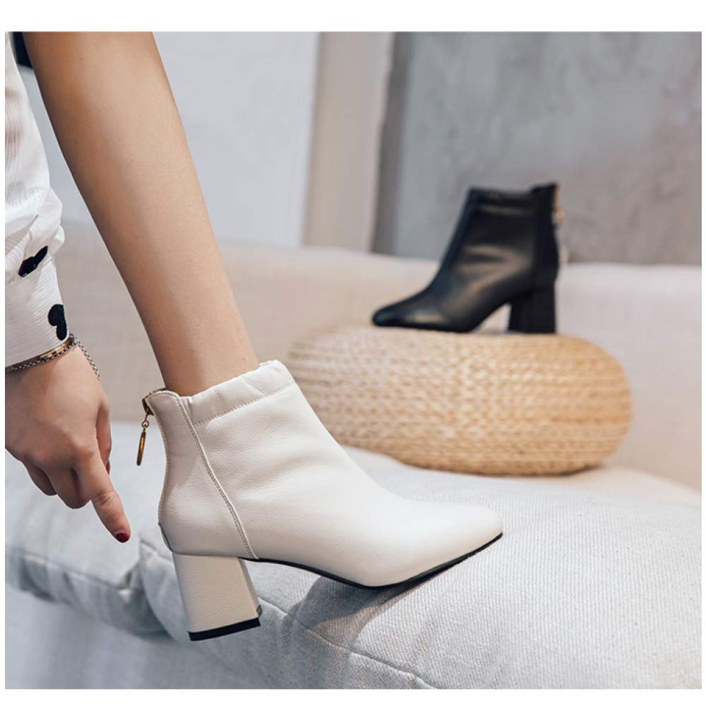 Qingchunhuangtang Stiefel hochhackige Stiefeletten Skinny-Stiefel Damen wild dick mit mit dick Reißverschluss hinten Britische Wind Martin Stiefel 312cb9
