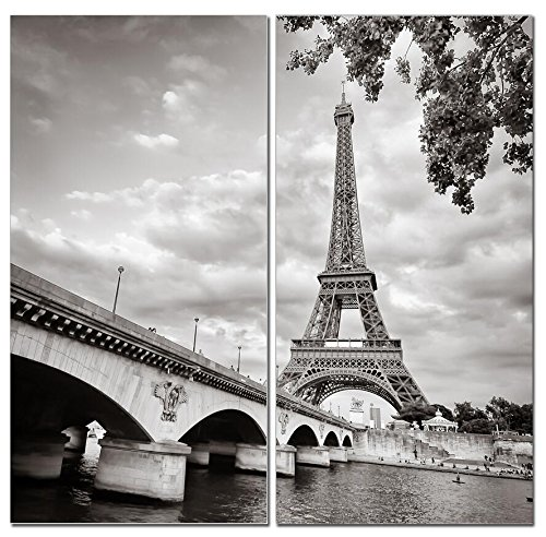 Stunning Views Beautiful Black & White Paris Eiffel Tower - Multi Panel Split Canvas Wall Art Set - 12 x 24 2 piece (Total size 24 x 24 inch) - Gallery wrapped & framed décor piece– Ready to - Black White Paris Photography