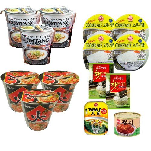 Price comparison product image Cup Rabob Set A-19 (Paldo Gomtang Cup Noodles x3, Paldo Hwa Spicy Cup Noodle x3, Cooked White Rice x4, Toaste Seaweed Wrap x2, Canned Seasoned Sesame Leaves, Canned Kimchi)  A-19 (   x3,    x3,   x4,  x2,  x1,  x1)