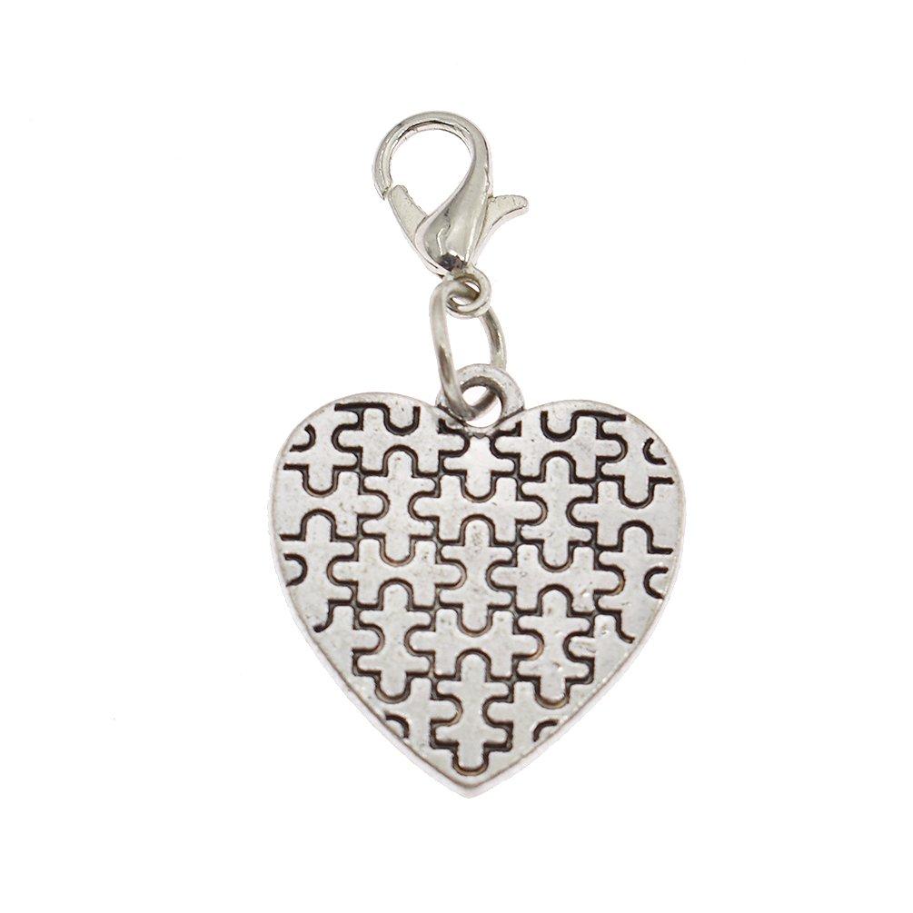Autism Awareness Keychain Cross Heart Jigsaw Puzzle Piece Asperger Keyring Gift Qlychee