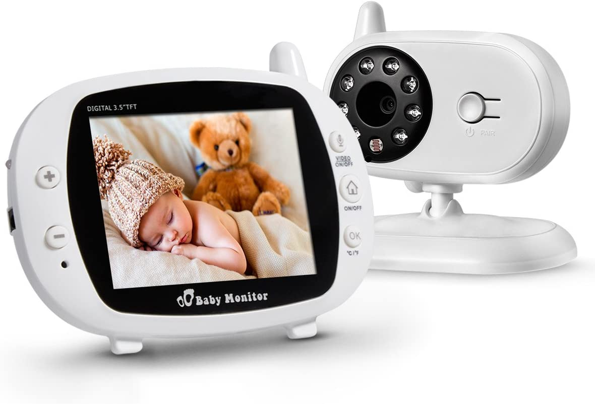 Powerextra - Cámara de vigilancia para bebé, 3,5 pulgadas, 2.4 GHz ...
