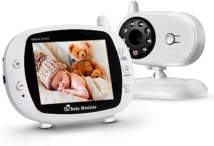 """Image ofPowerextra Vigilabebé Bebé Monitor Inteligente con LCD 3.5"""" Cámara Visión Nocturna Cámara Vigilancia Bebé Temperatura Diálogo Canción de cuna Color Blanco"""