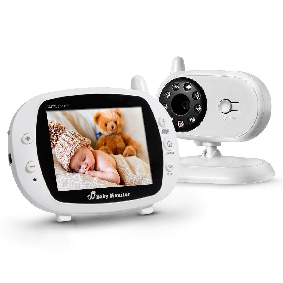 powerextra video inlalá mbrico bambino monitor della fotocamera digitale con LCD 3,5 ', monitor del bambino IR visione notturna, luce LED morbida, visualizzazione di temperatura, dialogo, colore bianco 5 isYoung