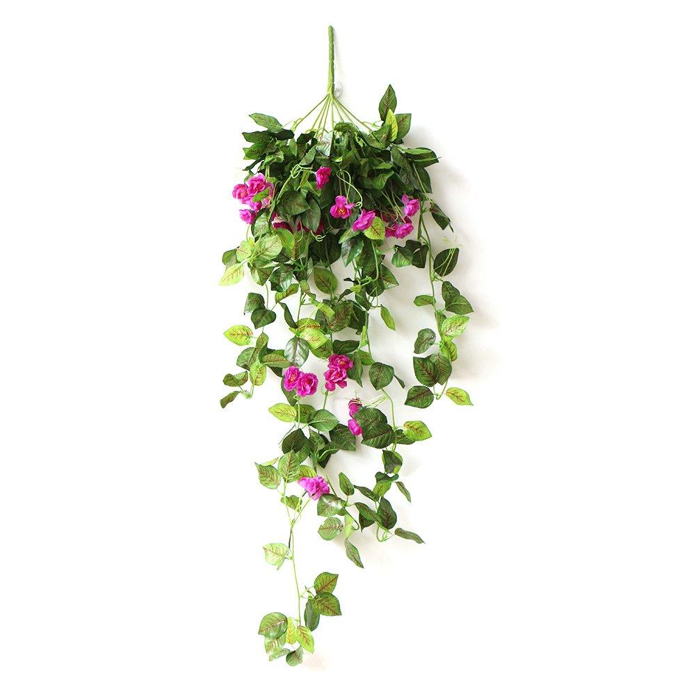 Artificial Rose Wall Hanging Bracketplant Rattan Decor Hanging Basket Decorative Silk Plant for Outdoor /& Indoor Ornaments Home Decor Bulary Fake Hanging Basket Plants