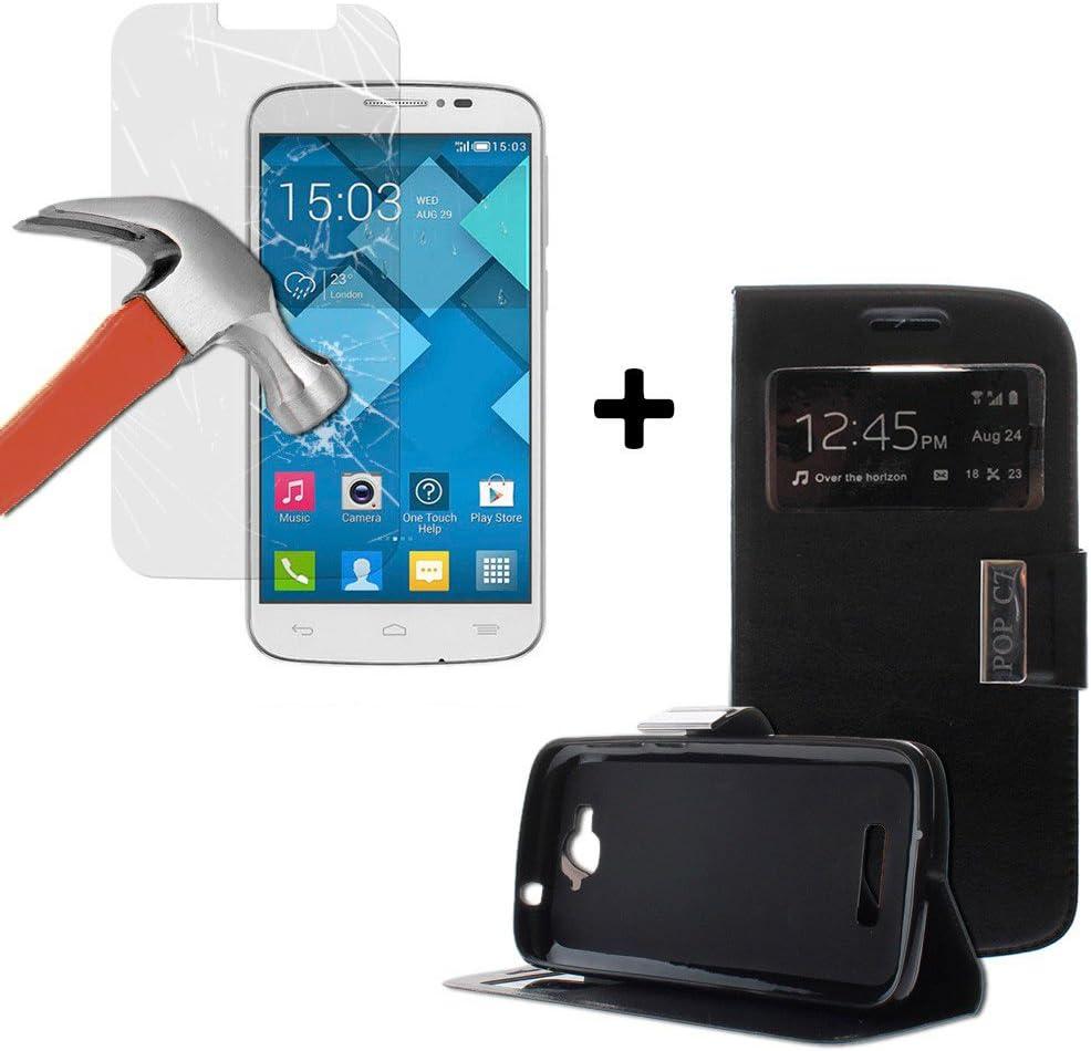 WoowCase 9H Tempered Glass - Funda Tipo Libro para [ Alcatel One Touch Pop C7 ] con función Soporte [ +1 Protector Cristal Vidrio Templado ] dureza 9H: Amazon.es: Electrónica
