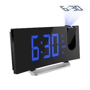 Mpow Radio Despertador Digital, Despertador Proyector con Alarma de Proyección de FM y Alarmas Dual, Radio Reloj Despertador con Proyector, Función ...