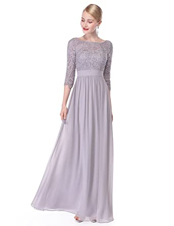 Grey Floor Length Evening Dress