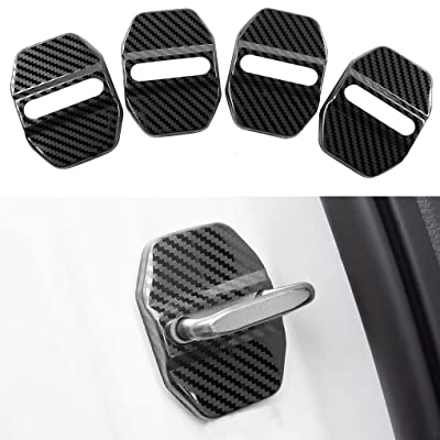 Car Door Lock Latches Cover Protector Replacement for BMW F30 F31 F34 F35 F36 F10 F11 M3 M5 X1 X2 X3 X4 X5 X6Car Accessories, 3M Adhesive Backing( Pack of 4) (Stainless steel carbon fiber pattern): Automotive