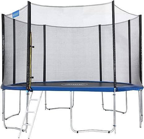 Monzana Trampolín de 427 cm Cama elástica Negro y Azul con Red de Seguridad y Escalera Juego Deporte Exterior jardín: Amazon.es: Deportes y aire libre