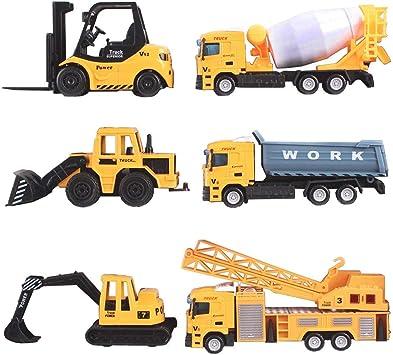 6 Die cast metal construction camions série Collection Set-Bulldozer chariot élévateur