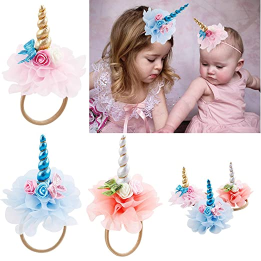 a9f18d85371f Amazon.com  Baby Girl Unicorn Headbands with Felt Flower for Newborn Infant  Toddler Hair Accessories  Clothing