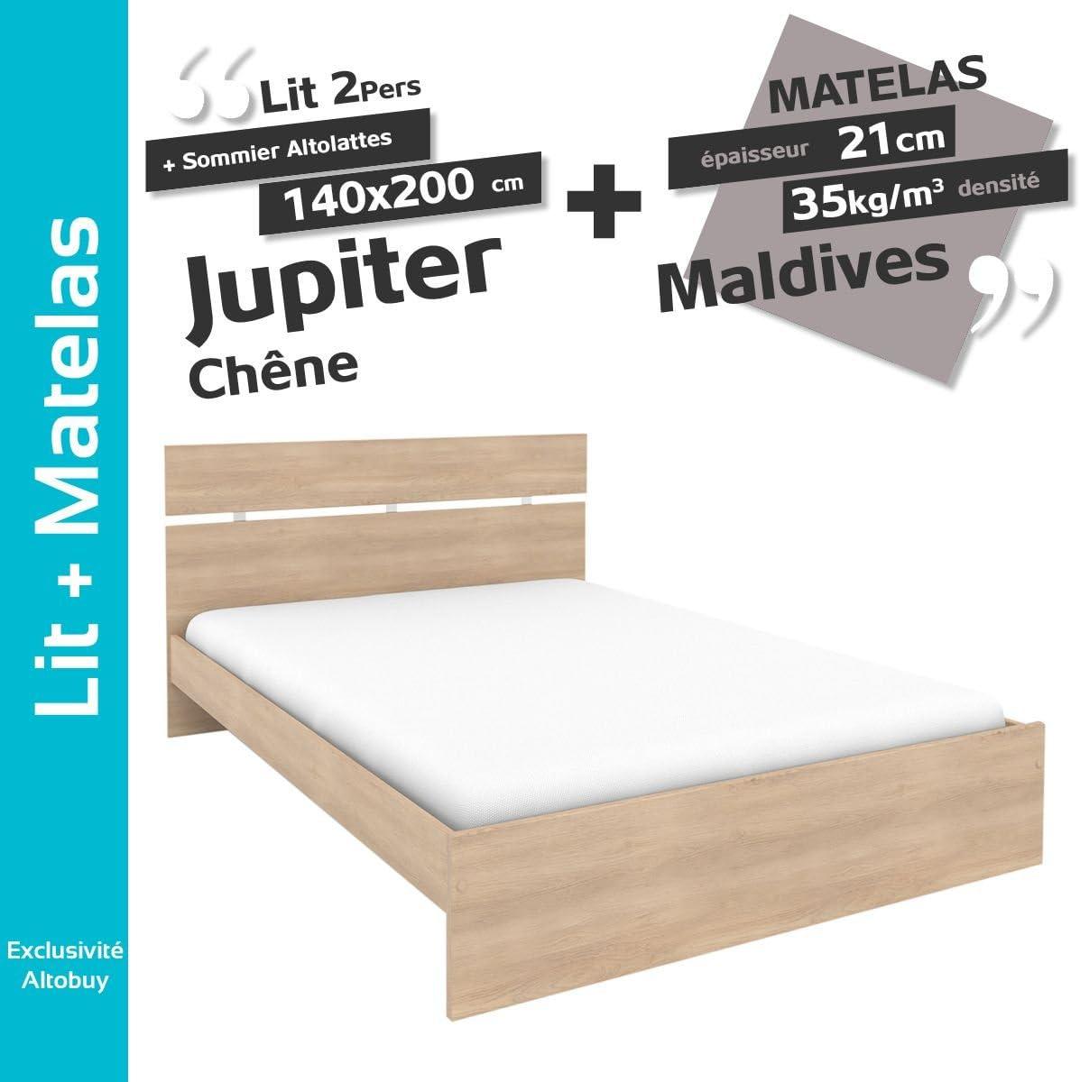Jupiter roble – Pack cama 140 x 200 cm + somier altolattes + ...