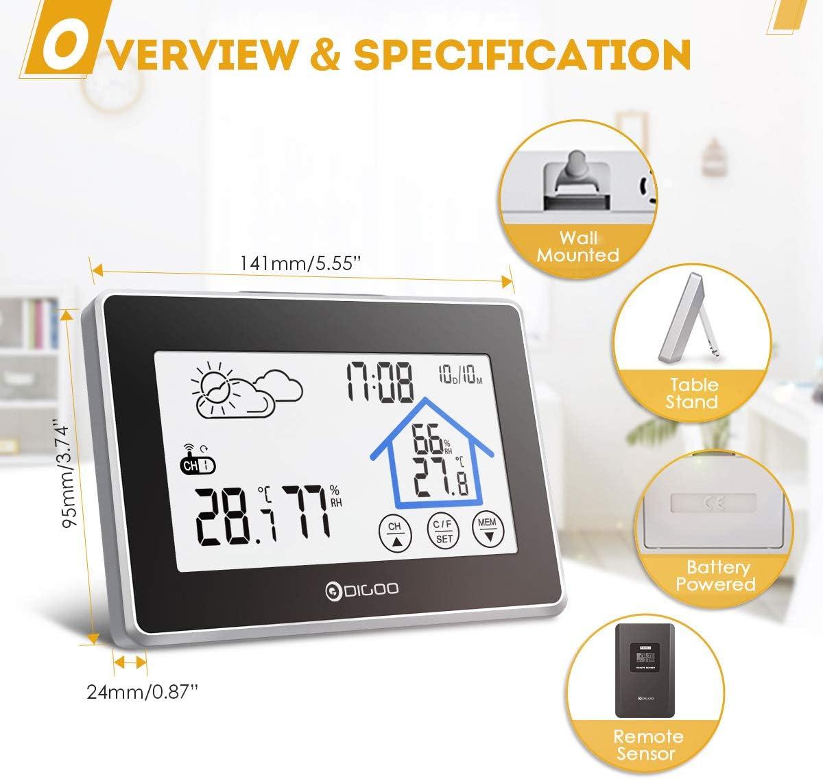 Indoor DIGOO DG-TH8380 Stazione Meteo Outdoor Termometro Igrometro Umidit/à Monitor Temperatura Nero