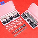 Hilitchi 345 Pcs 40 Pin 2.54mm Pitch Single Row Pin Headers Dupont Connector Housing Female Dupont Male/Female Pin Connector Kit