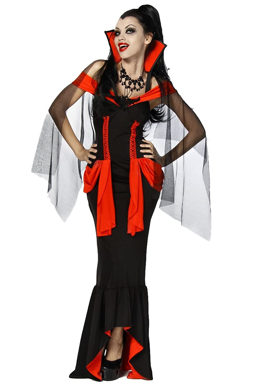 Yourdesignerz Vampir-Kostüm Damen schwarz-rot Verkleidung sexy
