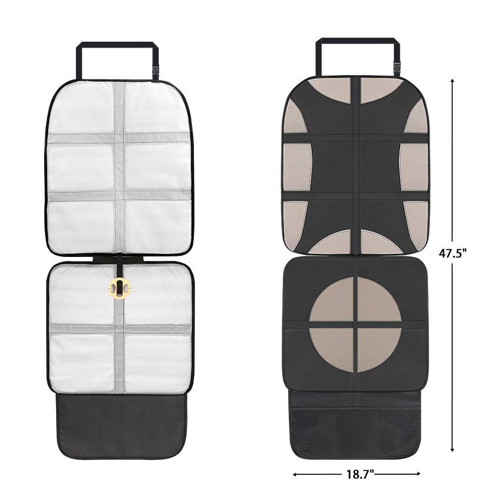 KIPIDA Car Seat Protector,2 Pack Large Auto Car Seat Protector for Child Seats,Leak Proof Vehicle Cover Pad with Thickest Padding,Non-Slip Seat Cover Pad with Organizer Pockets for Child Baby and Pet