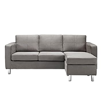 Wonderful Modern Microfiber Light Grey Small Space Sectional Sofa With Reversible  Chaise   Living Room Couch (