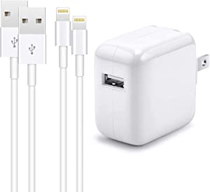iPhone Charger iPad Charger,【MFi Certified】 2.4A 12W USB Wall Charger Foldable Portable Travel Plug with 2-Pack Lightning to USB Cable (6.6FT) Compatible with iPhone, iPad, iPod, Airpods and More