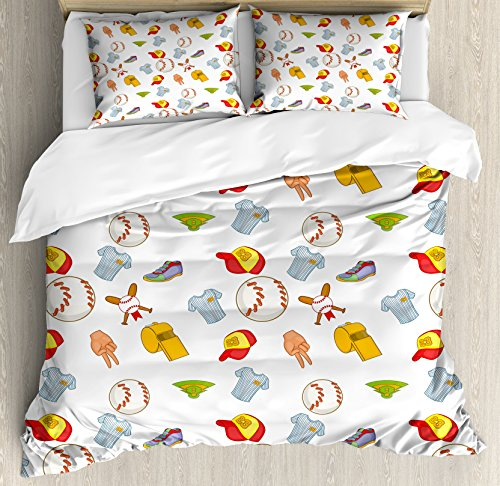 Baseball Queen Size Duvet Cover Set by Lunarable, Colorful Cartoon of Softball Sport Icons Professional Game Play League Tournament, Decorative 3 Piece Bedding Set with 2 Pillow Shams, Multicolor by Lunarable