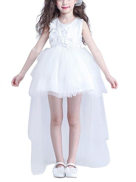 Happy Cherry Blanco Niñas Vestido de Princesa Tul Tutú sin Mangas con Cola Traje para Boda