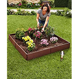 The lakeside collection raised garden bed set for vegetable and flower gardening 5 perfect for vegetable or flower gardening, this convenient kit is the perfect gift for moms and dads trying to enhance the look of their yard or other outdoor space easily assembles into one large garden box or two smaller raised beds. 8 stakes ensure this garden kit is securely planted into the ground and stays in place. Not only can you choose to use it in a one- or two-box configuration, but there are other shapes and designs you can go with to enhance the utility of this planter with raised walls.