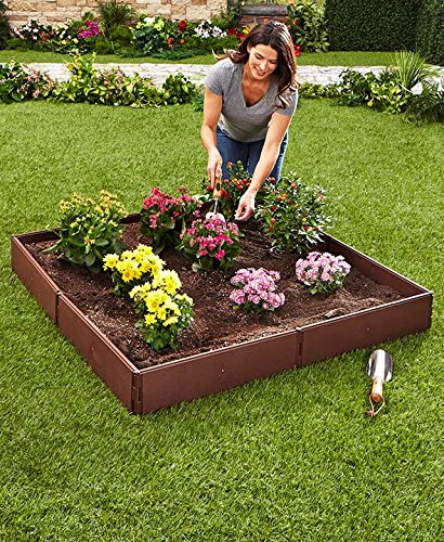 The Lakeside Collection Raised Garden Bed Set for Vegetable and Flower Gardening 1 Perfect for vegetable or flower gardening, this convenient kit is the perfect gift for moms and dads trying to enhance the look of their yard or other outdoor space Easily assembles into one large garden box or two smaller raised beds. 8 stakes ensure this garden kit is securely planted into the ground and stays in place. Not only can you choose to use it in a one- or two-box configuration, but there are other shapes and designs you can go with to enhance the utility of this planter with raised walls.