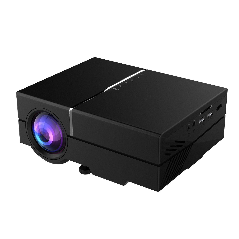 Abdtech Mini Portable LED Projector Home Theater - 1200 Luminous Efficiency Max 130 Screen Optical Keystone USB/AV/SD/HDMI/VGA Interface – Ideal for Video Games, Movie Night, Family Videos CT-RY10