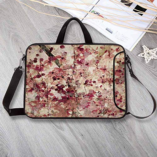 """Antique Decor Waterproof Neoprene Laptop Bag,Grungy Effect Cherry Blossoms on Ribbed Bamboo Retro Background Floral Art Work Laptop Bag for Business Casual or School,12.6""""L x 9.4""""W x 0.8""""H ()"""