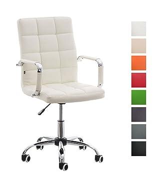 CLP Silla de Oficina Deli V2 en Poilipiel | Silla Ejecutiva Giratoria & Regulable en Altura I Silla de Escritorio con Ruedas I Color: Blanco
