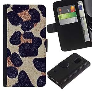 Billetera de Cuero Caso Titular de la tarjeta Carcasa Funda para Samsung Galaxy S5 V SM-G900 / leopard pattern fur animal nature / STRONG