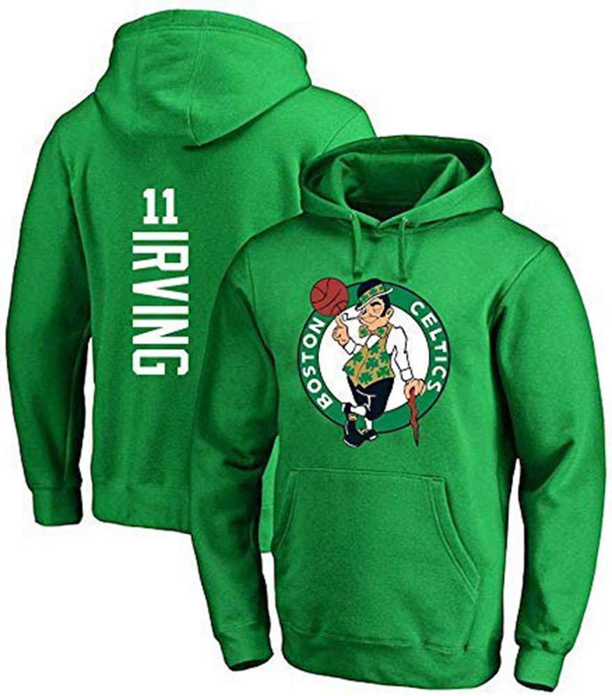 XSJY Pallacanestro con Cappuccio E Donna Uomo NBA Boston Celtics 11# Irving Jersey Hooded Pullover Allentato Basketball Felpa T-Shirt,Verde,S:160~165cm