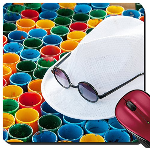 Liili Suqare Mousepad 8x8 Inch Mouse Pads/Mat IMAGE ID 32713261 close up white hat and subglasses on colorful painting on glass arranging for abstract - Subglasses